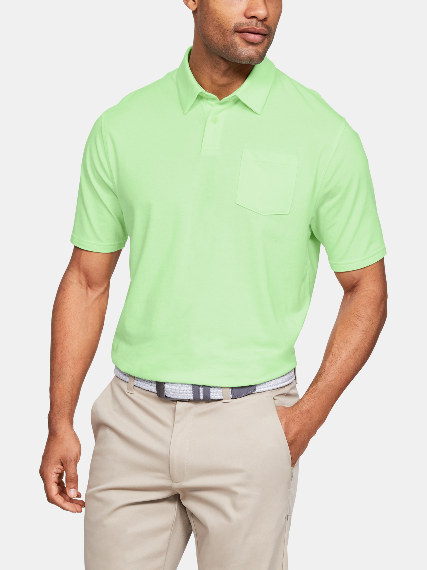 Tričko Under Armour Charged Cotton Scramble Polo-GRN (1)