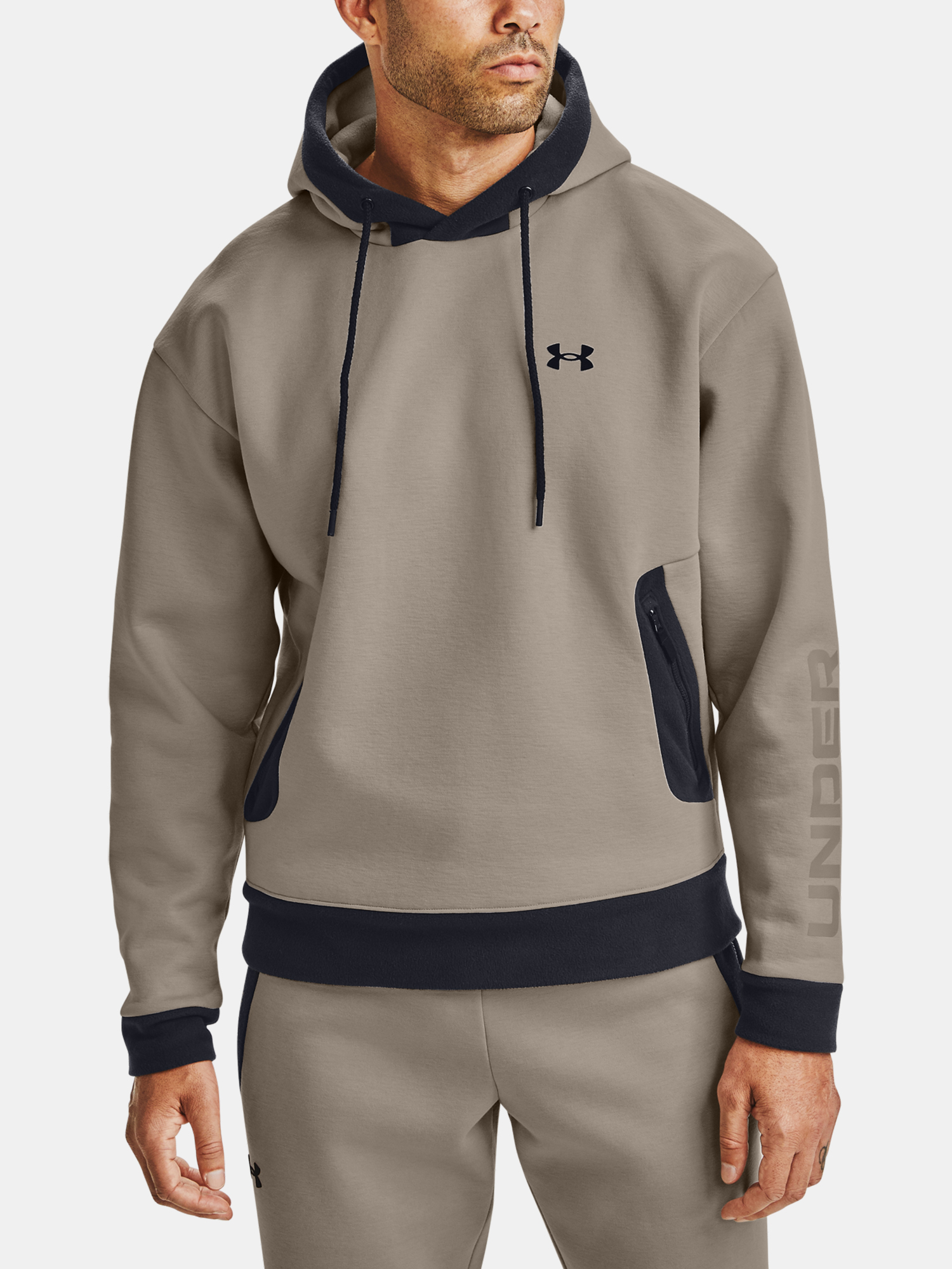 Mikina Under Armour Recover Fleece Hoodie-BRN (1)