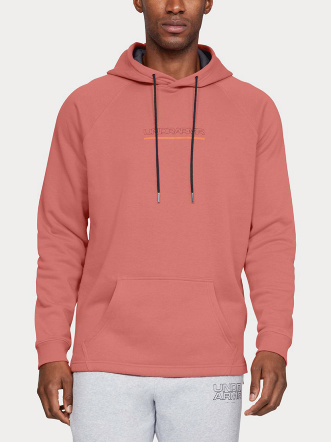 Mikina Under Armour Baseline FLC Graphic Hood-ORG (1)