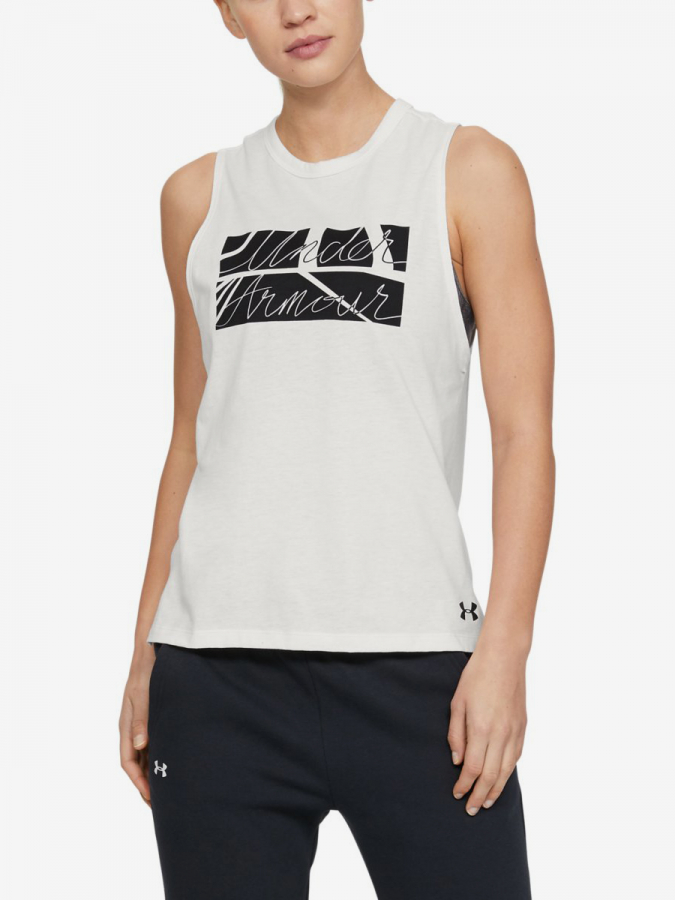 Tielko Under Armour GRAPHIC BOX SCRIPT MUSCLE TANK-WHT (1)