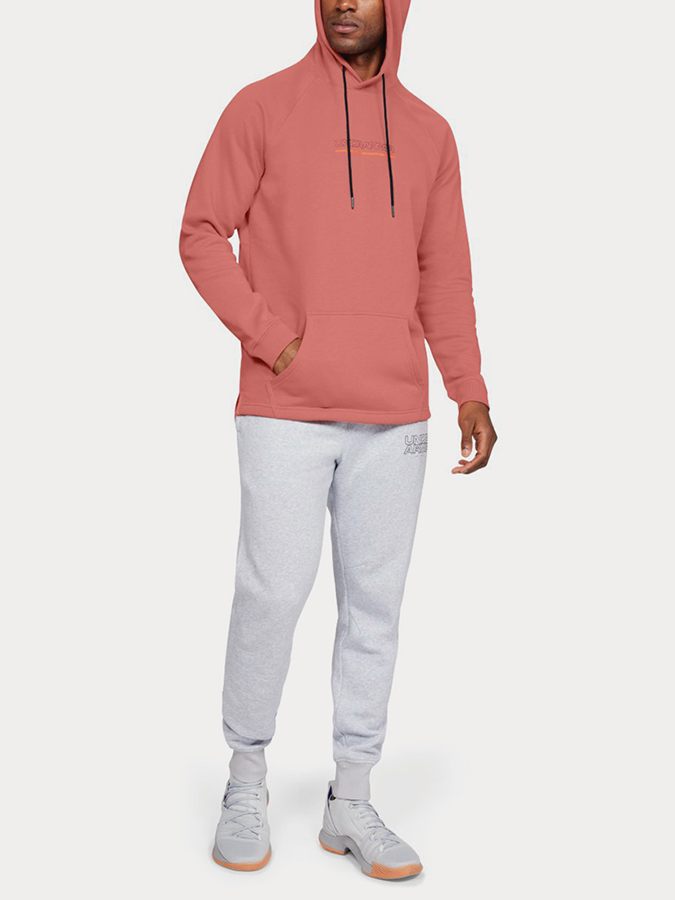 Mikina Under Armour Baseline FLC Graphic Hood-ORG (5)