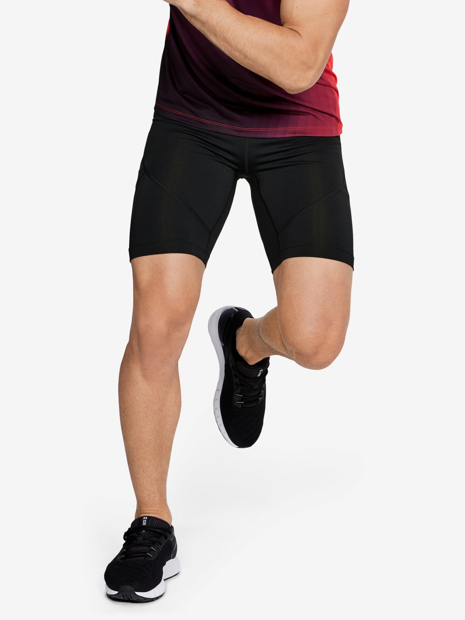 Kompresné šortky Under Armour Rush Run Half Tight-Blk (1)
