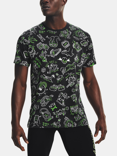 Tričko Under Armour Run Ur Face Off Print SS-BLK
