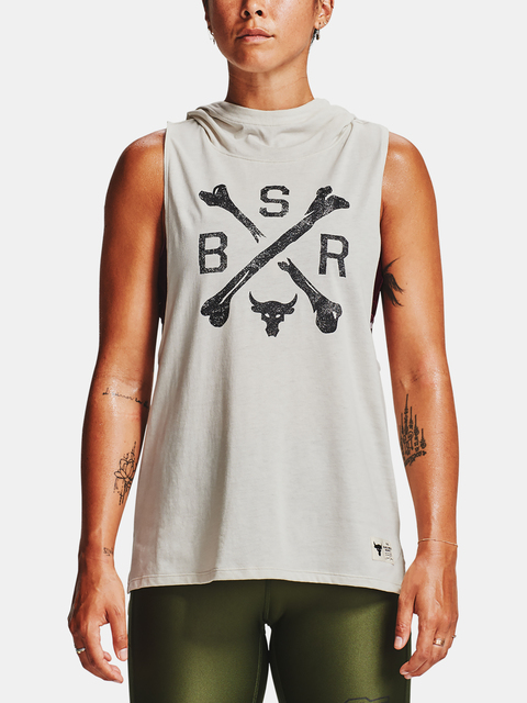 Tielko Under Armour Project Rock Hooded Tank-WHT
