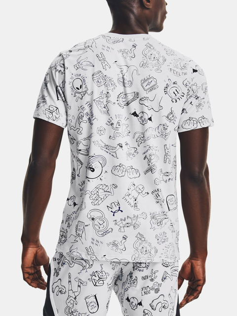 Tričko Under Armour Run Ur Face Off Print SS-GRY