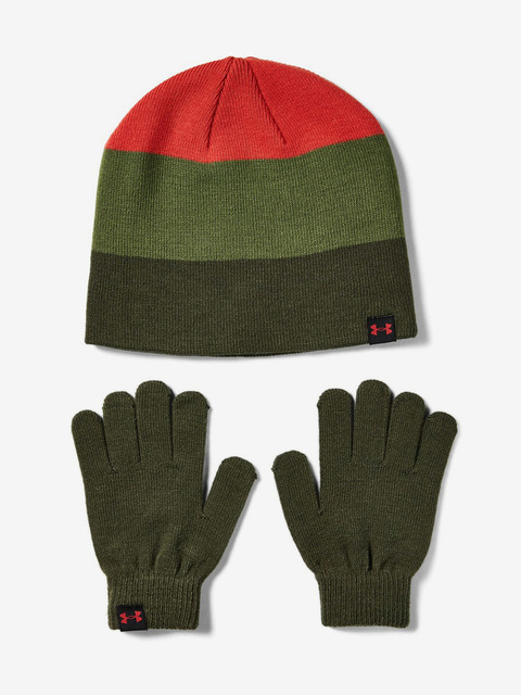 Čepice a rukavice Under Armour Boys Beanie Glove Combo-Grn