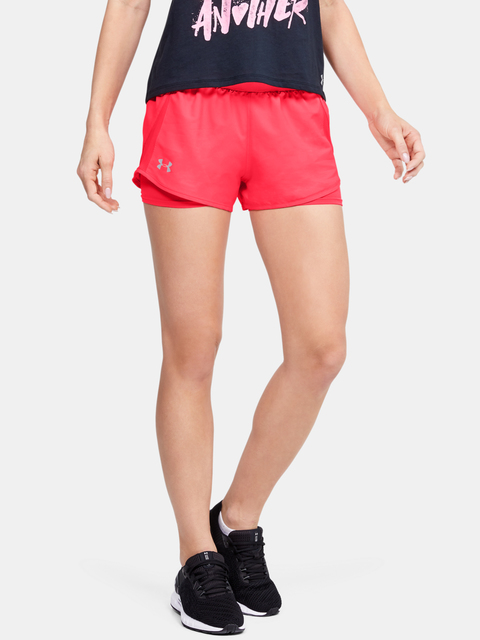 Kraťasy Under Armour W UA Fly By 2.0 Mini 2-in-1 Short-RED