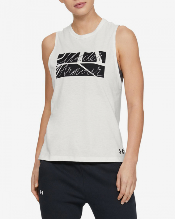 Tielko Under Armour GRAPHIC BOX SCRIPT MUSCLE TANK-WHT