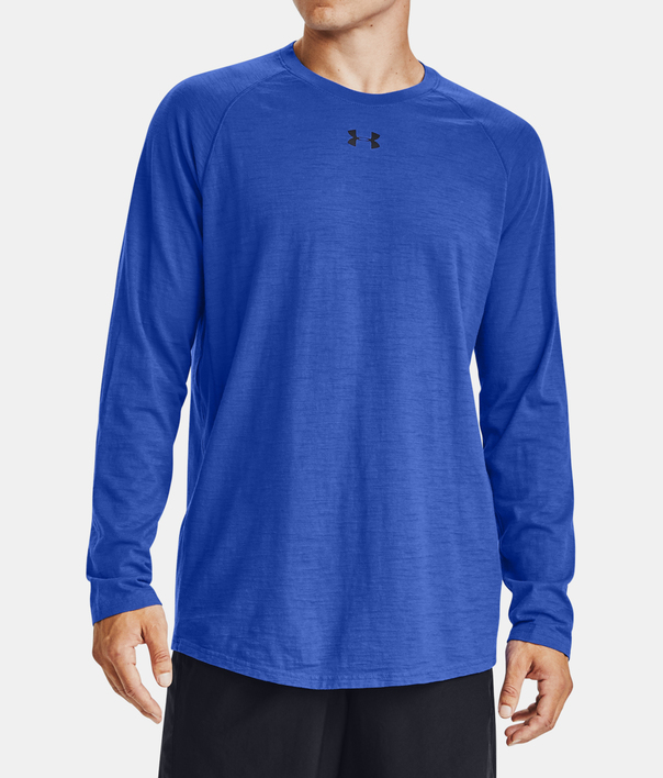 Tričko Under Armour Charged Cotton LS-BLU (1)