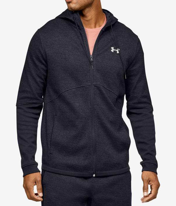 Mikina Under Armour DOUBLE KNIT FZ HOODIE-BLK (1)