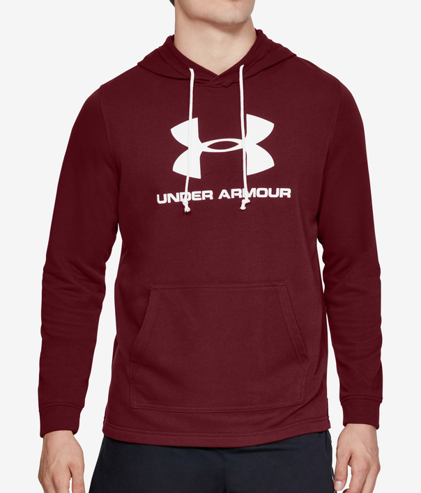 Mikina Under Armour SPORTSTYLE TERRY LOGO HOODIE-RED (1)