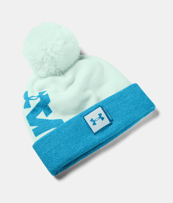 Čapica Under Armour UA Big Pom Logo Beanie-BLU (1)