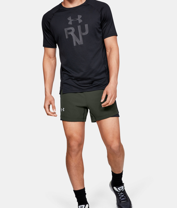 Kraťasy Under Armour QUALIFIER SPEEDPOCKET 5'' SHORT-GRN (6)